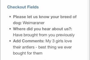 Weimaraner love Staglers Deer antler dog chews testimonial